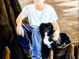 Oil portrait of a farm boy and his dog sitting under a tree by Lee Mims