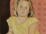 Oil on canvas portrait of a portrait of a young girl by Lee Mims.