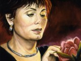 Oil portrait of a lady holding a rose by Lee Mims