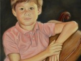 Oil on canvas portrait of a boy by Lee Mims