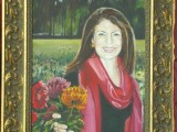 Oil on linen portrait of a woman in a garden holding flowers by Lee Mims