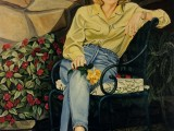 Oil on canvas portrait of a woman sitting on a patio holding a flower by Lee Mims