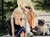 Oil portrait of a brother and sister with their pug dog by Lee Mims