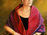 Oil portrait of lady wearing a purple shawl by Lee Mims