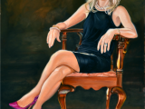 Oil on canvas portrait of young woman wearing purple shoes by Lee Mims