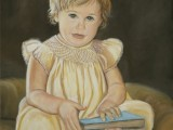 Oil on canvas portrait of a young girl in gown holding a book by Lee Mims
