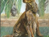 Oil on canvas portrait of a dog named Suzie painted by Lee Mims.