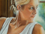 Oil protrait of a young woman wearing white and looking over her shoulder by Lee Mims
