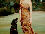 Oil portrat of a young lady and her dog by Lee Mims