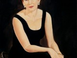 Oil portrait of a woman wearing a black dress