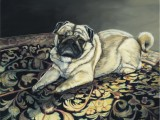 Oil on canvas pet portrait of a pug named Jerry by Lee Mims.