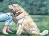 Oil portrait of a loyal Golden Retriever named Richy by Lee Mims.