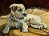 Oil portrait of a dog named Rocky lying on a rug painted by Lee Mims.