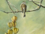 Oil on canvas painting of a solitary sparrow perched on a branch in the winter by Lee Mims.