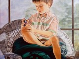 Oil on canvas portrait of a young boy playing with a toy by Lee Mims