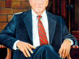 Oil portrait of a judge wearing a suit by Lee Mims